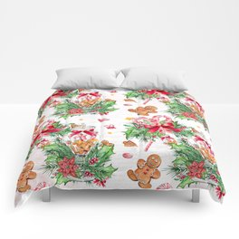 Christmas gingerbread candy cane Comforters