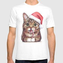 Christmas Animal Santa Cat T-shirt