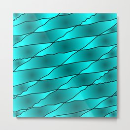 Slanting iridescent lines and rhombuses on light blue with intersection of glare. Metal Print