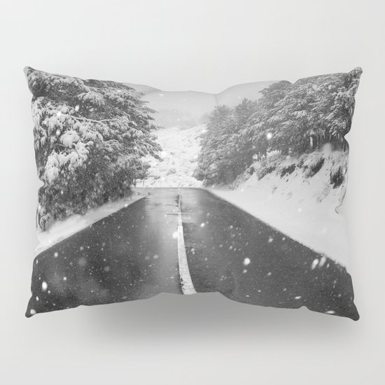 """The road"". Bw Pillow Sham"