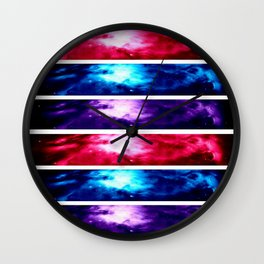 Orion NebuLA Panel Art : Pink Blue Purple Wall Clock