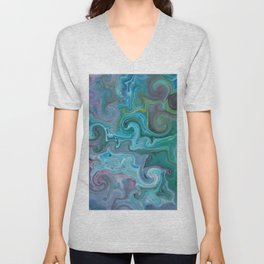 Amazon Currents - Abstract Acrylic Art by Fluid Nature Unisex V-Neck
