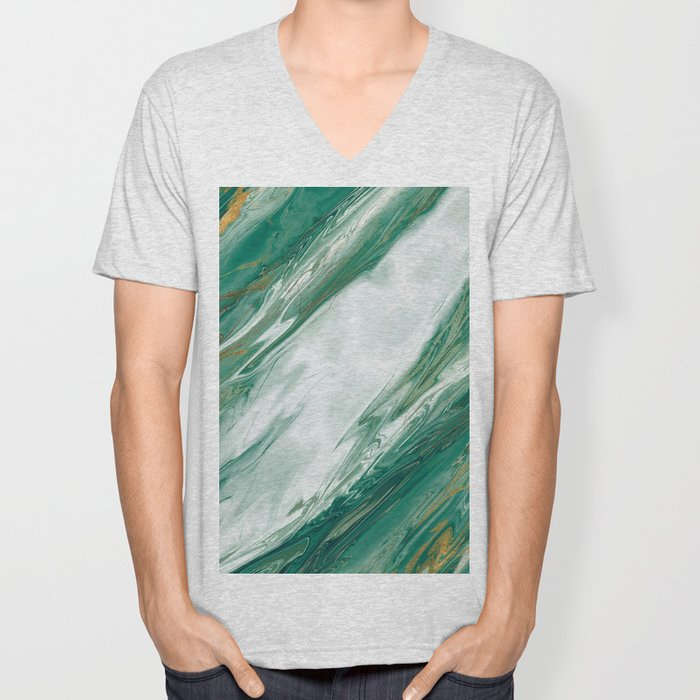 Emerald Jade Green Gold Accented Painted Marble Unisex V-Neck
