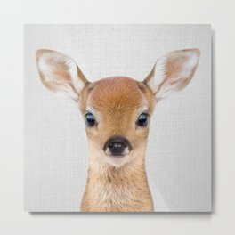Baby Deer - Colorful Metal Print