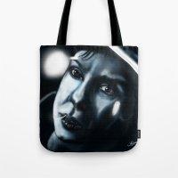 sandra dieckmann Tote Bags featuring Sandra bullock in Gravity by Jamie Briggs