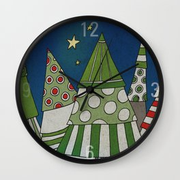 Night in the Winter Forest Wall Clock
