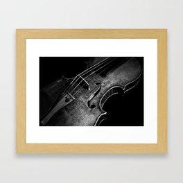 Black and White Violin Framed Art Print