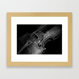 Black and White Violin Framed Art Print