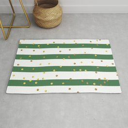 Christmas White and Green and Christmas Golden confetti Rug