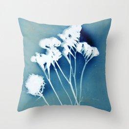 Blue Strawflower Throw Pillow