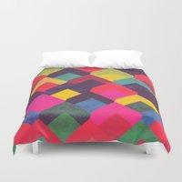 georgiana paraschiv Duvet Covers featuring colour + pattern 11 by Georgiana Paraschiv