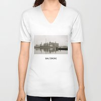 baltimore V-neck T-shirts featuring baltimore harbor by Art by Ash