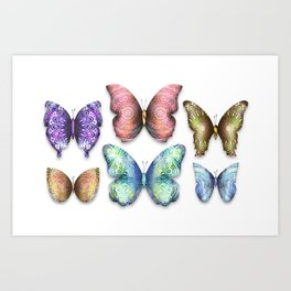 Butterfly Taxidermy 10 // Beautiful Mandala Detailed Wings Design // Pink Purple Aqua Green Blue Art Print