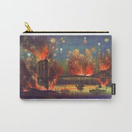 NEW YORK FIREWORKS city old map Father Day art print poster Carry-All Pouch