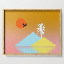Golden Sky Pink Ocean Minimalist Landscape Serving Tray