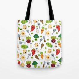 Cute Kawaii Food Pattern Tote Bag