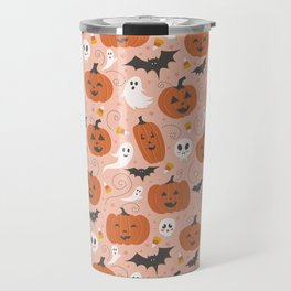 Pumpkin Party on Blush Pink Travel Mug