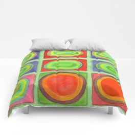 Green Grid filled with Circles and intense Colors Comforters