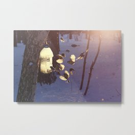 titmouse flew to the feeder in winter Metal Print