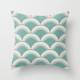 Japanese Fan Pattern Foam Green and Beige Throw Pillow