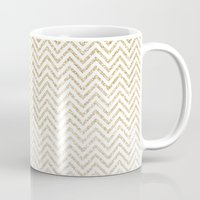 gold glitter Mugs featuring Gold Glitter Ombre Chevrons by Doucette Designs