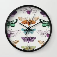 techno Wall Clocks featuring Techno-Moth Collection by Zeke Tucker
