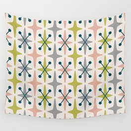 Mid Century Modern Abstract Star Pattern 222 Teal Chartreuse Dusty Rose and Gray Wall Tapestry