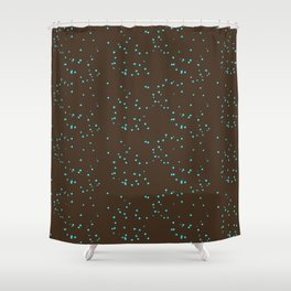 Brown Turquoise Shambolic Bubbles Shower Curtain
