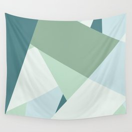 Modern abstract beach color block geometric stripes blue green pattern Wall Tapestry