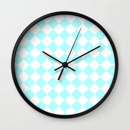 Diamonds - White and Celeste Cyan Wall Clock