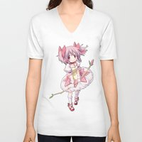 madoka V-neck T-shirts featuring Madoka Kaname by Yue Graphic Design