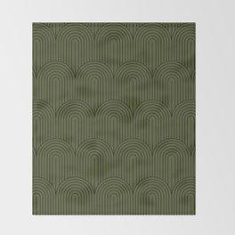 Art Deco Arch Pattern VIII - Dark Green Throw Blanket