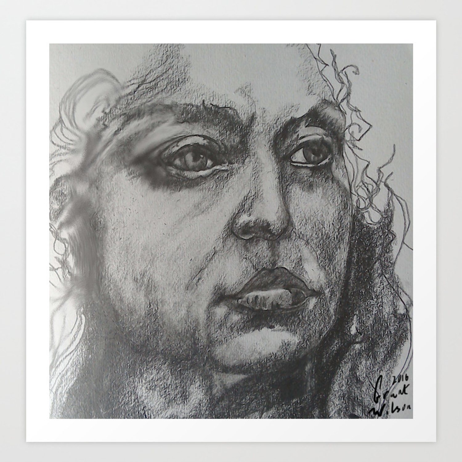 Pencil sketch of female face portrait graphite art print by grantwilson society6