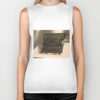 typewriter Biker Tanks featuring TYPEWRITER by Alejandra Triana Muñoz (Alejandra Sweet