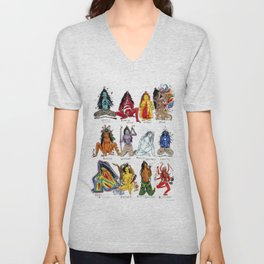 Her Moods - Watercolor Chart of the Emotions of the Female Mind Unisex V-Neck