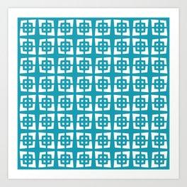 Mid Century Modern Pattern 271 Cerulean Blue Art Print