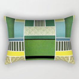 GREEN, BLUE, YELLOW AND STRIPES Rectangular Pillow