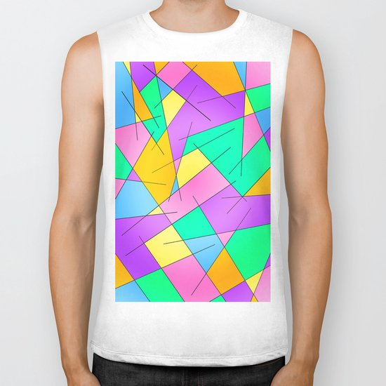ABSTRACT LINES #1 (Multicolored Vivid) Biker Tank