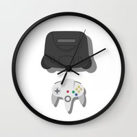 nintendo Wall Clocks featuring Nintendo 64 by Di No