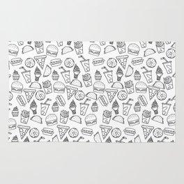Fast Food Monoline Doodles Rug
