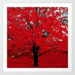 TREE RED Art Print