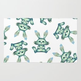 Blue rabbit with flora instead of coat Rug