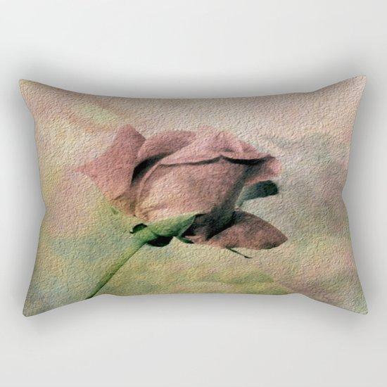 Painterly Pink Rose Bud Rectangular Pillow