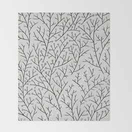 Berry Branches – Silver & Black Throw Blanket
