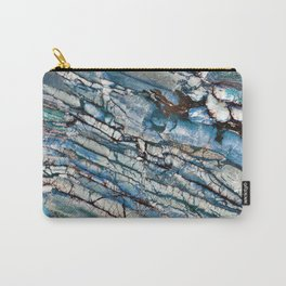 Stratified Blue Rock-Art Panel Carry-All Pouch