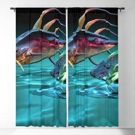 Absract Transparent Fish 3D Ultra HD Blackout Curtain