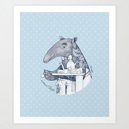 Tea time starts now - Malayan Tapir - Bule Art Print