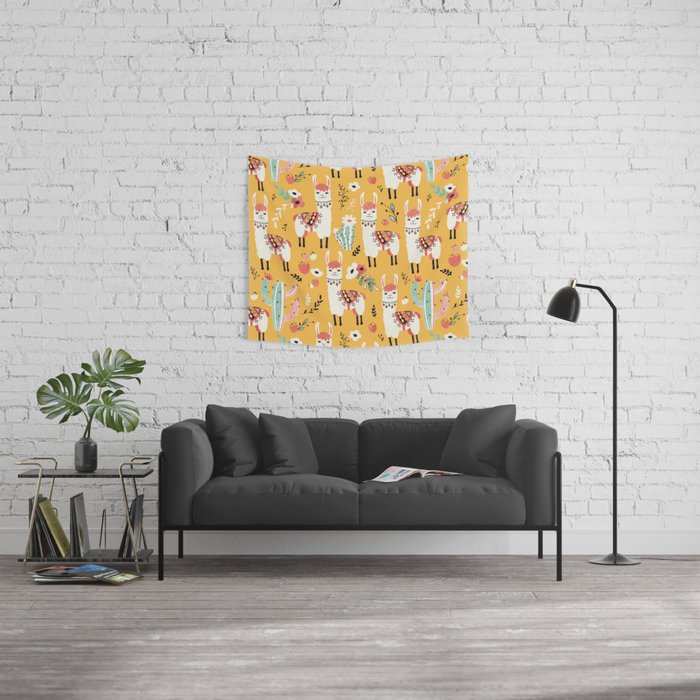 White Llama with flowers Wall Tapestry