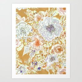 GROOVY PARADISE Golden Hibiscus Floral Art Print
