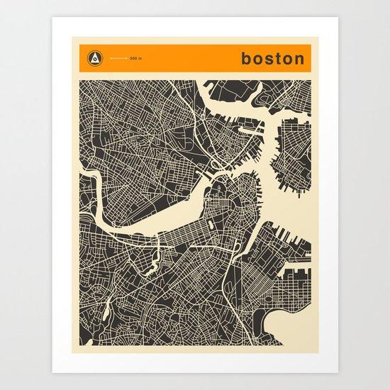 B0STON MAP Art Print